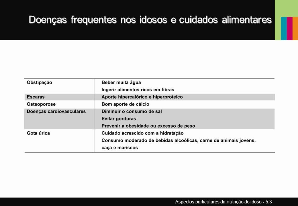 Doenças frequentes nos idosos e cuidados alimentares Aspectos particulares da nutrição do idoso - 5.3