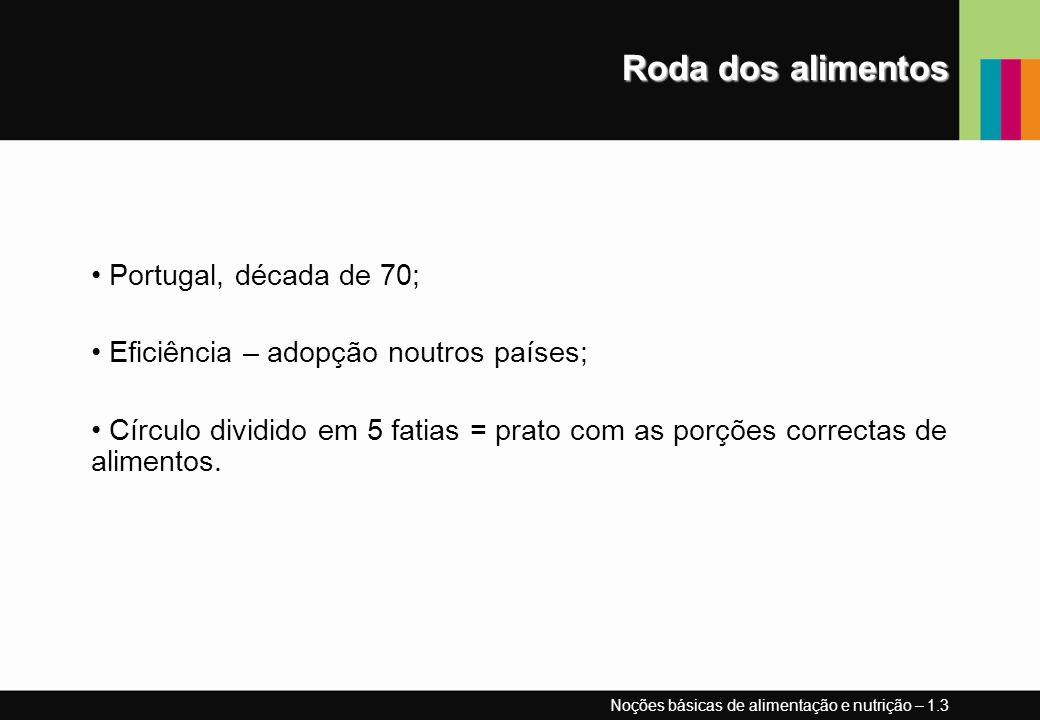 Roda dos alimentos Portugal, década de 70; Eficiência – adopção noutros países; Círculo dividido em 5 fatias = prato com as porções correctas de alimentos.