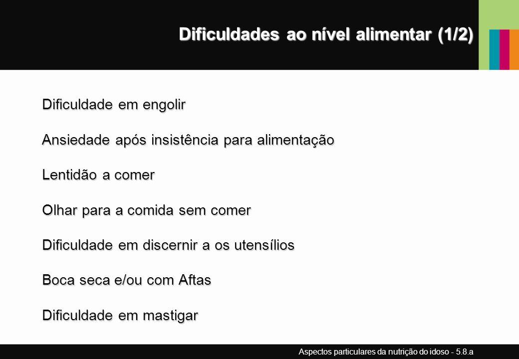 Dificuldades ao nível alimentar (1/2) Dificuldade em engolir Ansiedade após insistência para alimentação Lentidão a comer Olhar para a comida sem come
