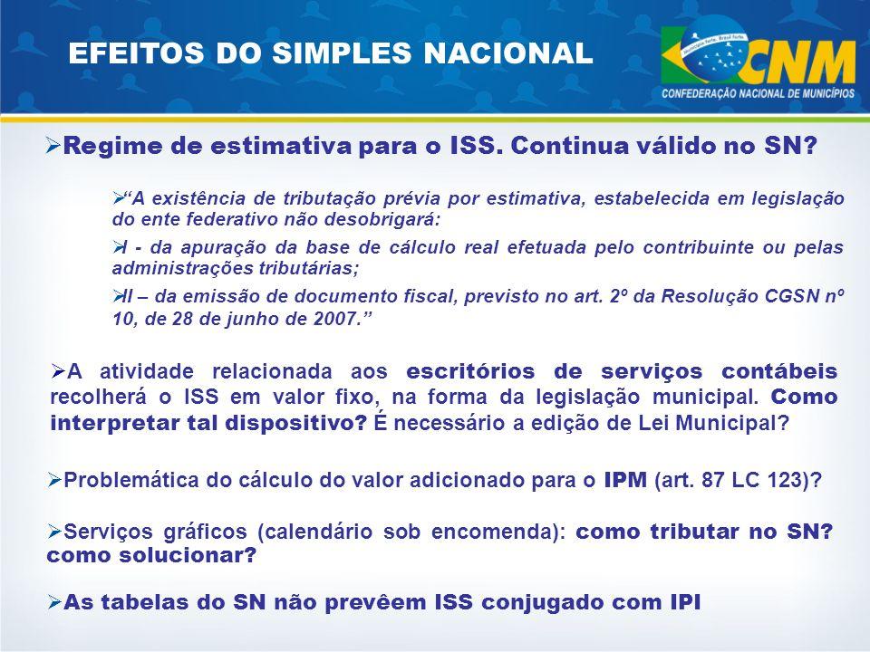 Regime de estimativa para o ISS. Continua válido no SN? A existência de tributação prévia por estimativa, estabelecida em legislação do ente federativ