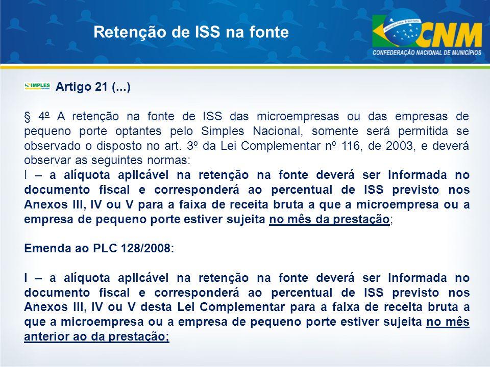 Artigo 21 (...) § 4º A retenção na fonte de ISS das microempresas ou das empresas de pequeno porte optantes pelo Simples Nacional, somente será permit