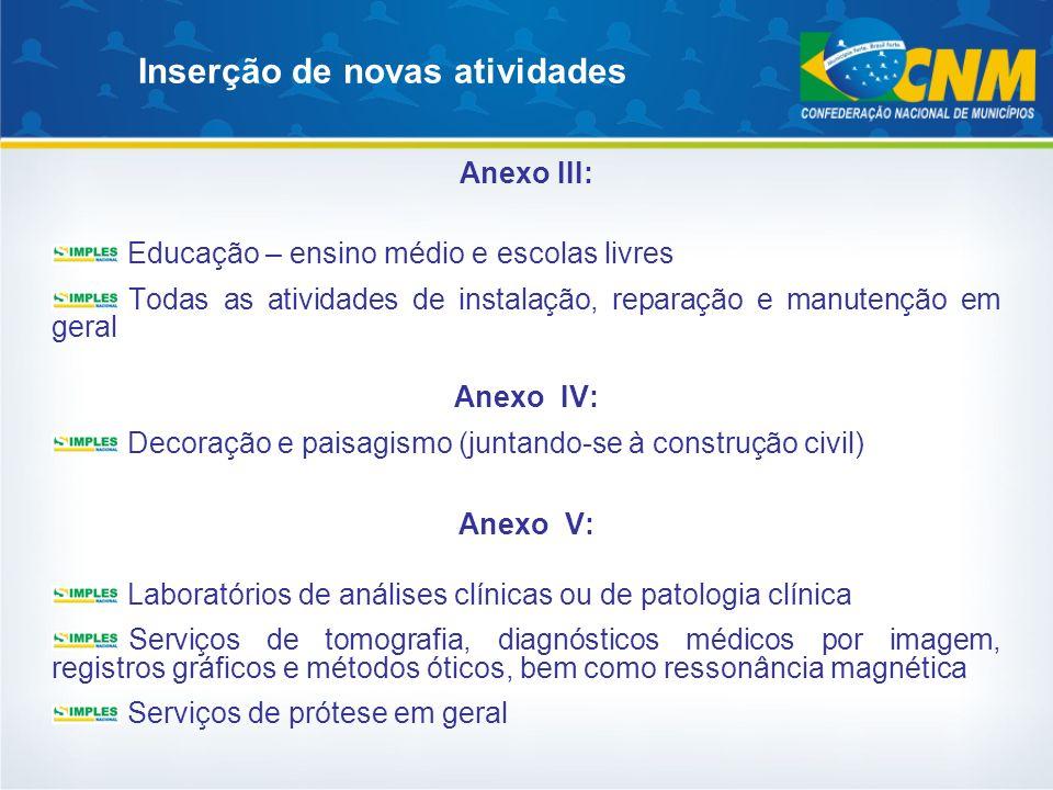 Inserção de novas atividades Anexo III: Educação – ensino médio e escolas livres Todas as atividades de instalação, reparação e manutenção em geral An