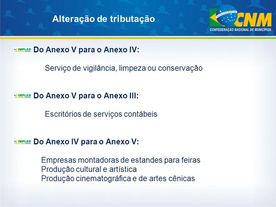 Alteração de tributação Do Anexo V para o Anexo IV: Serviço de vigilância, limpeza ou conservação Do Anexo V para o Anexo III: Escritórios de serviços