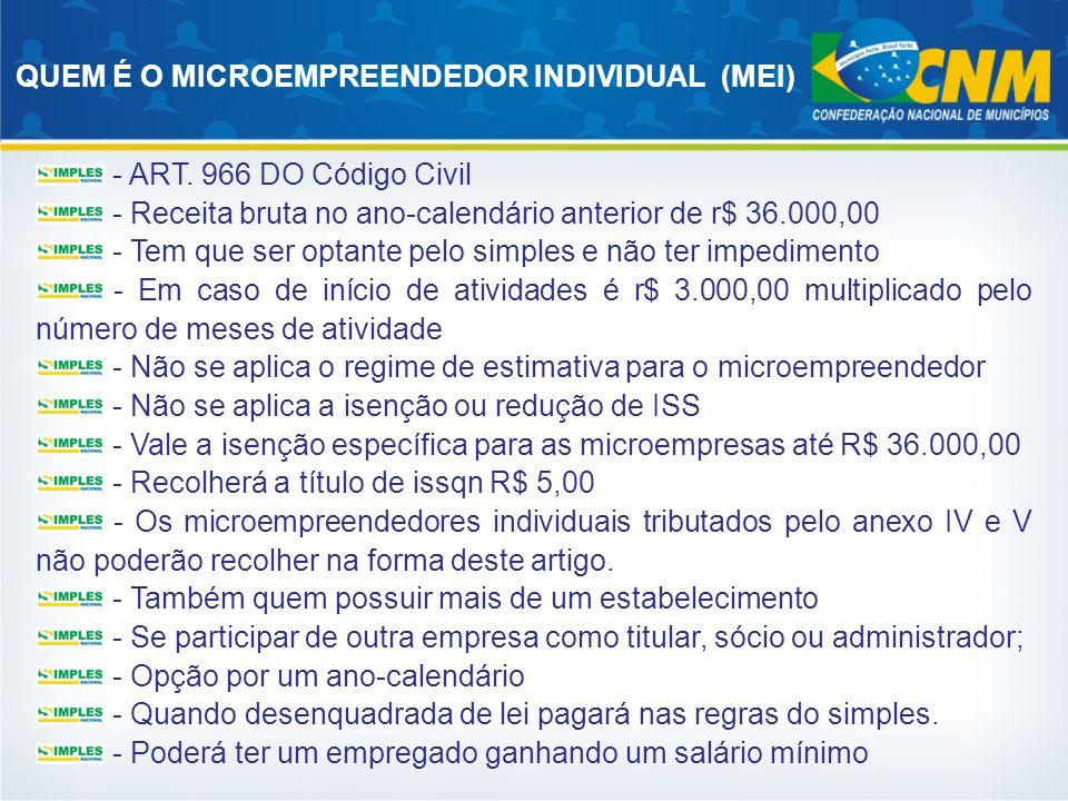QUEM É O MICROEMPREENDEDOR INDIVIDUAL (MEI) - ART. 966 DO Código Civil - Receita bruta no ano-calendário anterior de r$ 36.000,00 - Tem que ser optant