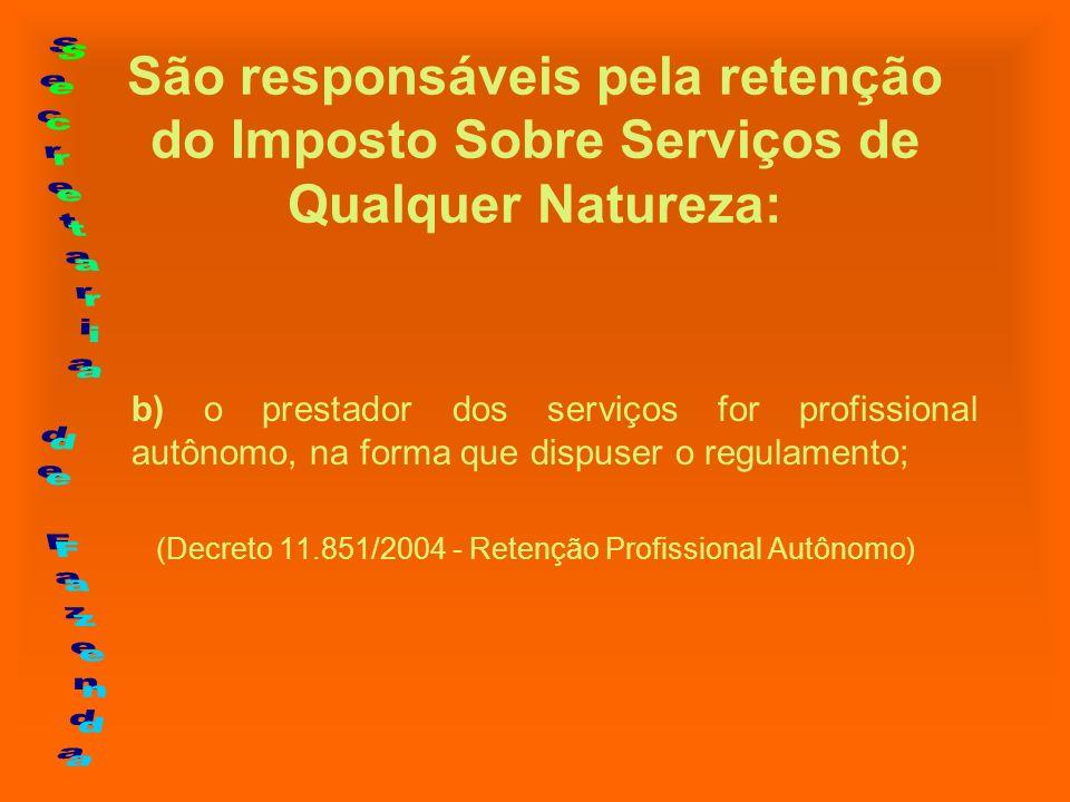 São responsáveis pela retenção do Imposto Sobre Serviços de Qualquer Natureza: b) o prestador dos serviços for profissional autônomo, na forma que dis