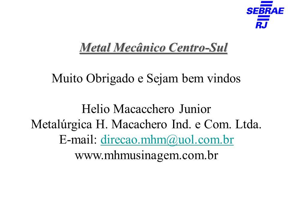 Metal Mecânico Centro-Sul Muito Obrigado e Sejam bem vindos Helio Macacchero Junior Metalúrgica H. Macachero Ind. e Com. Ltda. E-mail: direcao.mhm@uol