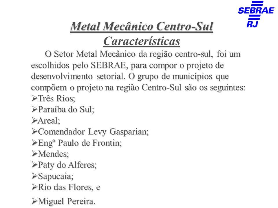 Metal Mecânico Centro-Sul Características O Setor Metal Mecânico da região centro-sul, foi um escolhidos pelo SEBRAE, para compor o projeto de desenvo