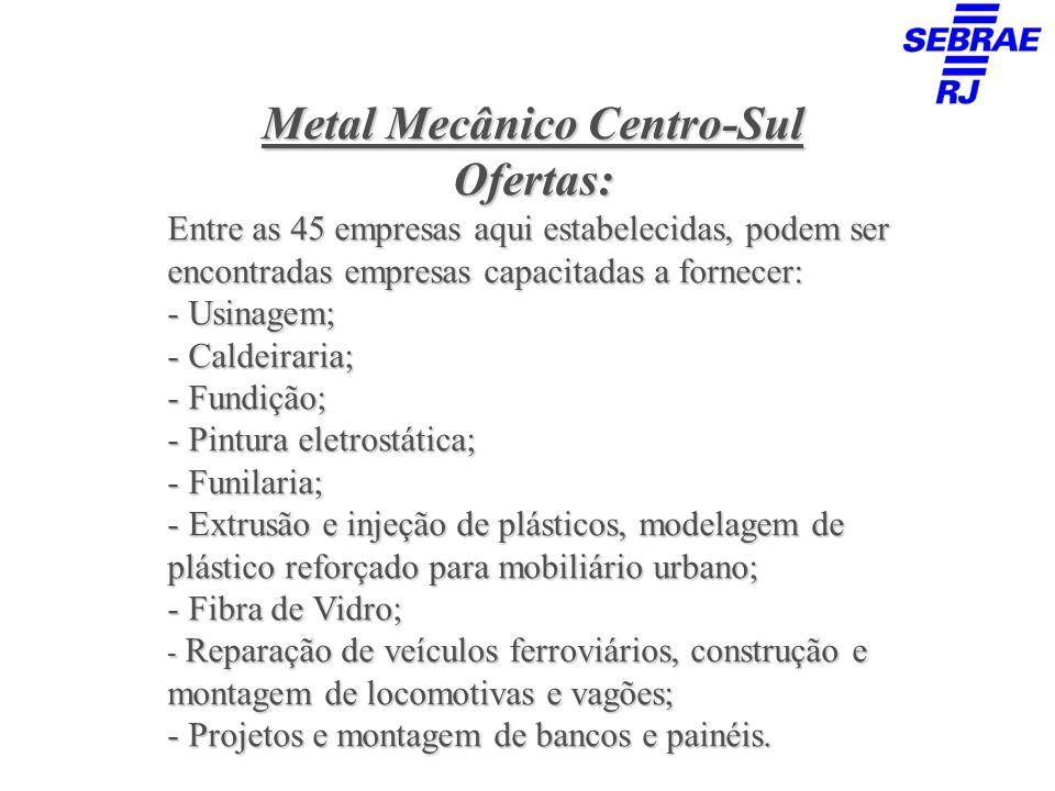Metal Mecânico Centro-Sul Demandas: As principais demandas são aquelas ligadas as atividades listadas anteriormente, principalmente: - Semi-acabados (barras,perfis,chapas); - Consumíveis de produção(solda,gases,etc); - Resinas; - Ferramentas; - Tratamentos superficiais; - Lubrificantes; - EPI; - Material elétrico, pneumático, entre outros.