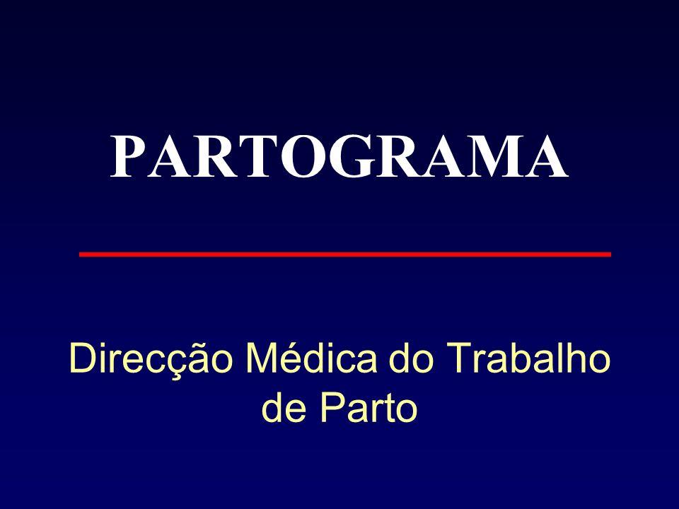 Partograma Partograma - representação gráfica da evolução do trabalho de parto Tempo Dilatação colo(cm) 10 0 Estadio de apresentação -5 +5