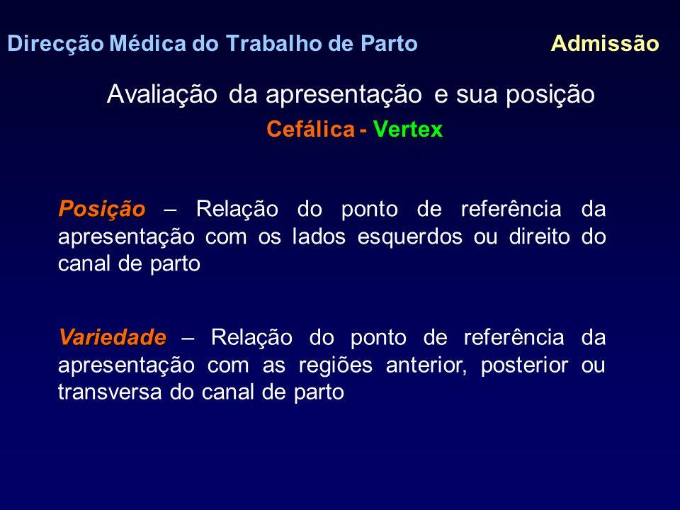 Direcção Médica do Trabalho de Parto Admissão Avaliação da apresentação e sua posição Cefálica - Vertex EsquerdaDireita