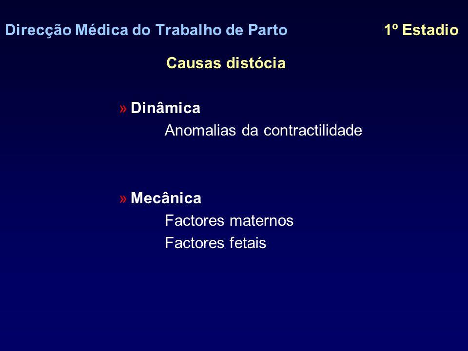 Direcção Médica do Trabalho de Parto 1º Estadio Distocia dinâmica Contractilidade uterina normal 3-4 contracções /10min Duração 45-90seg.