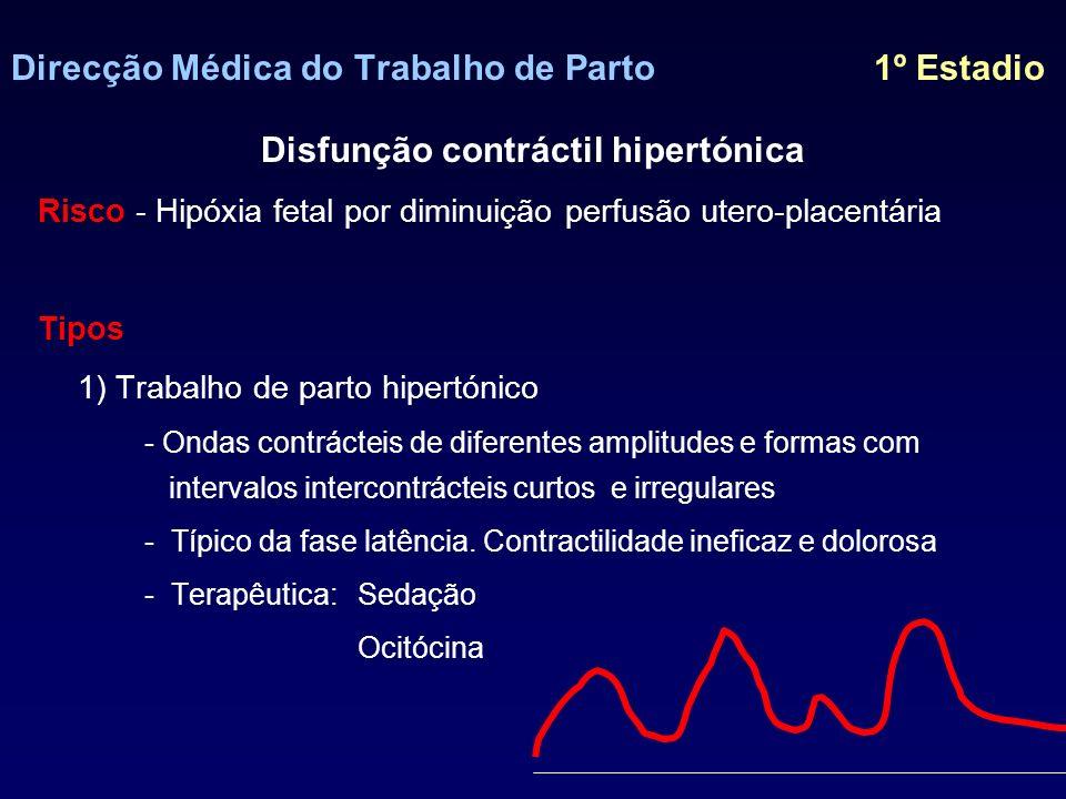Direcção Médica do Trabalho de Parto 1º Estadio Disfunção contráctil hipertónica 2) Hipertonia uterina - Contracções de maior amplitude, duração e frequência com aumento do tonus basal - EtiologiaIatrogénica - ocitociccos, prostaglandinas DPPNI 3) Taquissistolia - 5 contracções /10min - Etiologia Iatrogénica