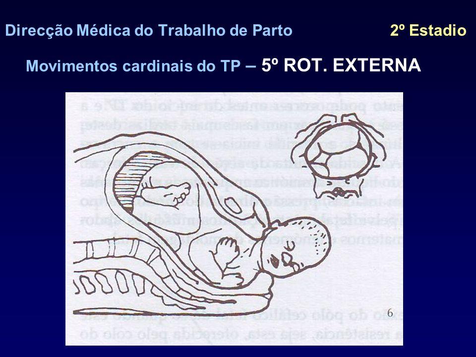 Direcção Médica do Trabalho de Parto 2º Estadio Movimentos cardinais do TP – 5º EXPULSÃO