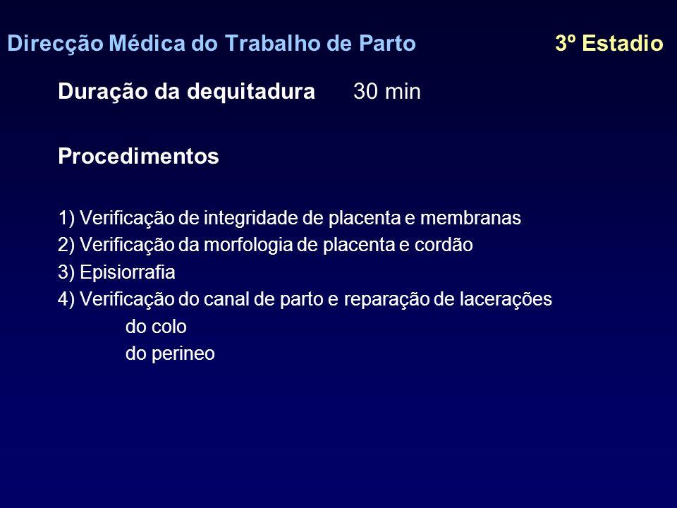 Direcção Médica do Trabalho de Parto 3º Estadio I graumucosa II grau fascia, plano muscular III grau esfíncter rectal IV grau mucosa rectal