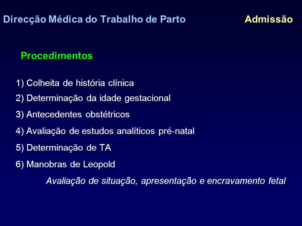 Direcção Médica do Trabalho de Parto Admissão Manobras de Leopold Avaliação de situação