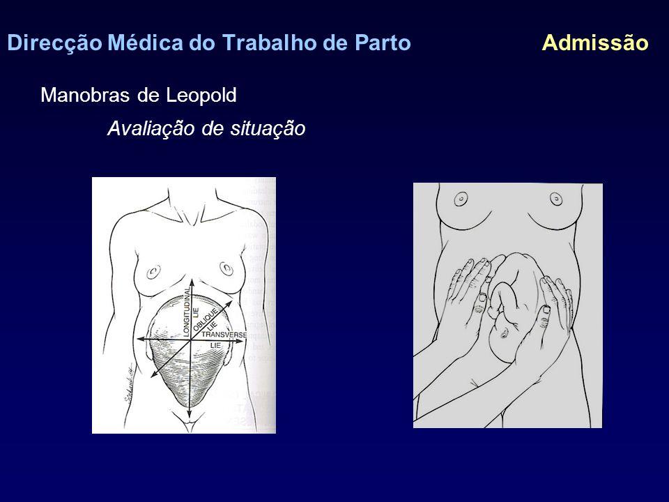 Direcção Médica do Trabalho de Parto Admissão Manobras de Leopold Avaliação de situação, apresentação e encravamento fetal