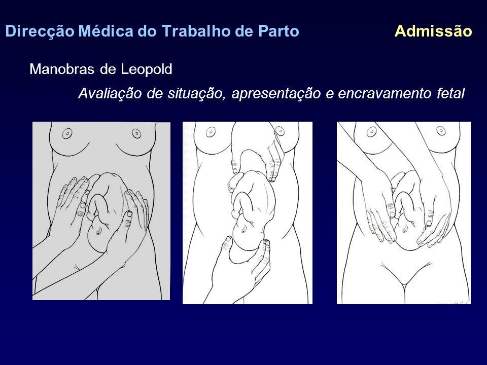 Direcção Médica do Trabalho de Parto Admissão 7) Determinação da frequência cardíaca fetal (FCF) 8) Confirmação de rotura de membranas 9) Toque vaginal Procedimentos