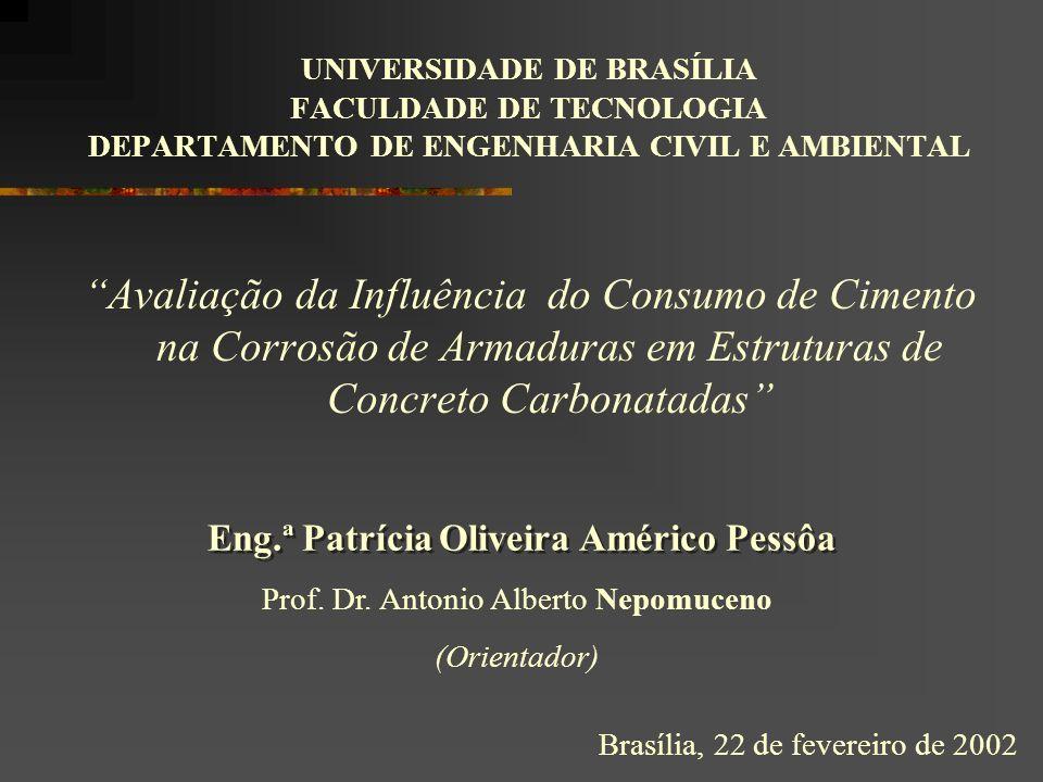 UNIVERSIDADE DE BRASÍLIA FACULDADE DE TECNOLOGIA DEPARTAMENTO DE ENGENHARIA CIVIL E AMBIENTAL Avaliação da Influência do Consumo de Cimento na Corrosão de Armaduras em Estruturas de Concreto Carbonatadas Prof.