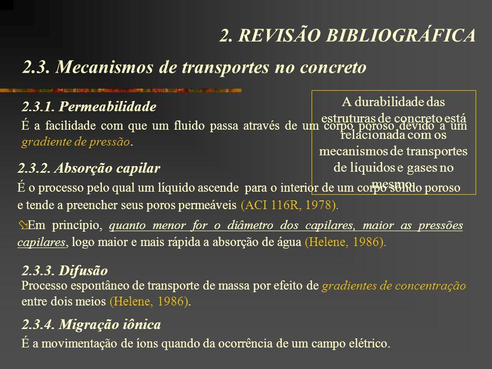2.3. Mecanismos de transportes no concreto 2. REVISÃO BIBLIOGRÁFICA É a facilidade com que um fluido passa através de um corpo poroso devido a um grad