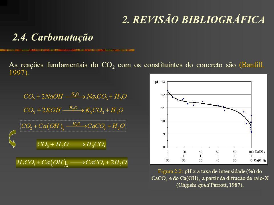 2.4. Carbonatação 2. REVISÃO BIBLIOGRÁFICA As reações fundamentais do CO 2 com os constituintes do concreto são (Banfill, 1997): Figura 2.2: pH x a ta
