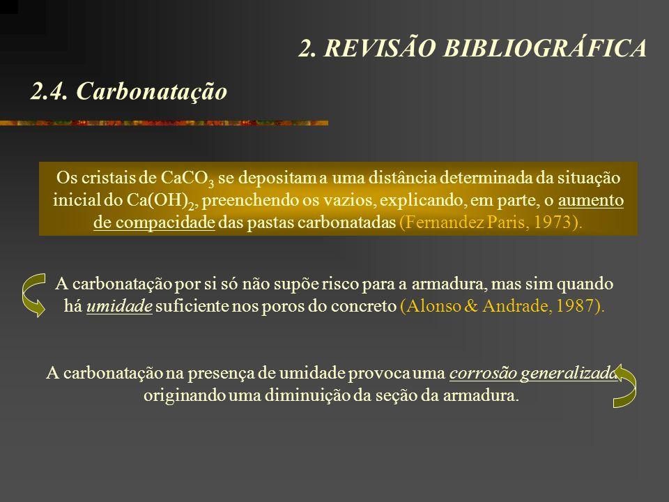 2.4. Carbonatação 2. REVISÃO BIBLIOGRÁFICA Os cristais de CaCO 3 se depositam a uma distância determinada da situação inicial do Ca(OH) 2, preenchendo