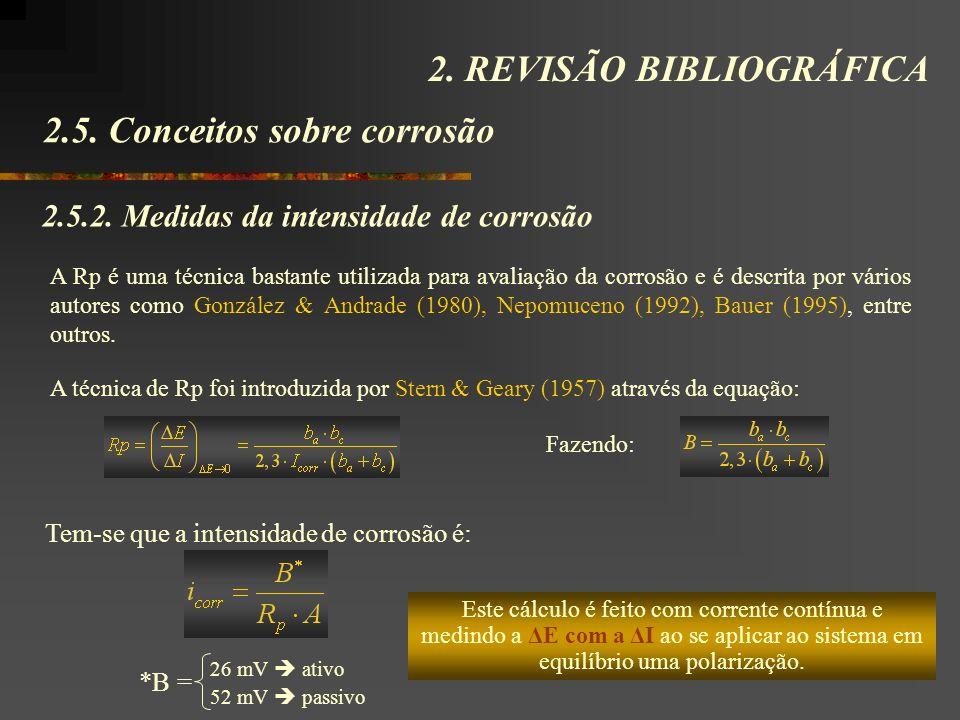 2.5. Conceitos sobre corrosão 2. REVISÃO BIBLIOGRÁFICA 2.5.2. Medidas da intensidade de corrosão A Rp é uma técnica bastante utilizada para avaliação