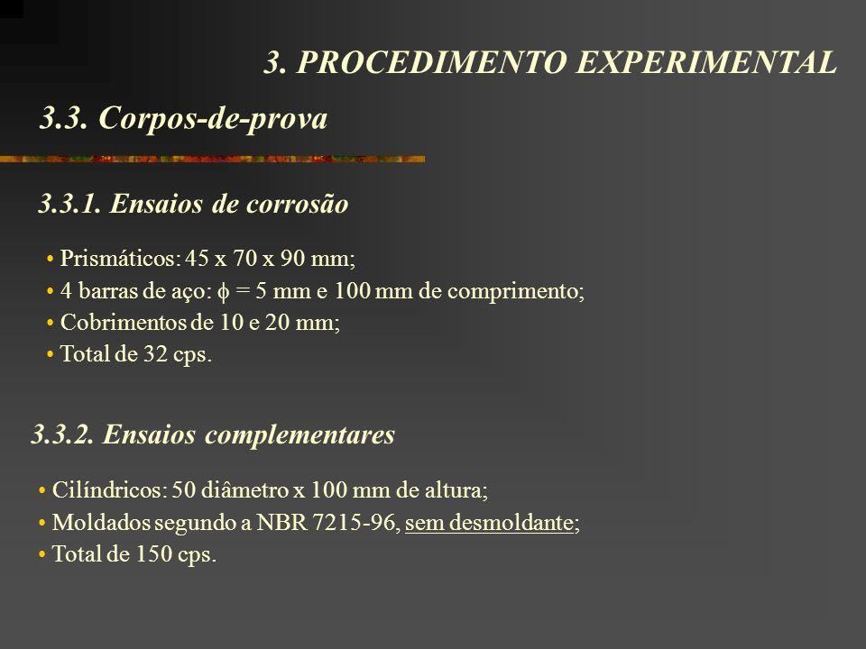 3.3. Corpos-de-prova 3. PROCEDIMENTO EXPERIMENTAL 3.3.2. Ensaios complementares Cilíndricos: 50 diâmetro x 100 mm de altura; Moldados segundo a NBR 72
