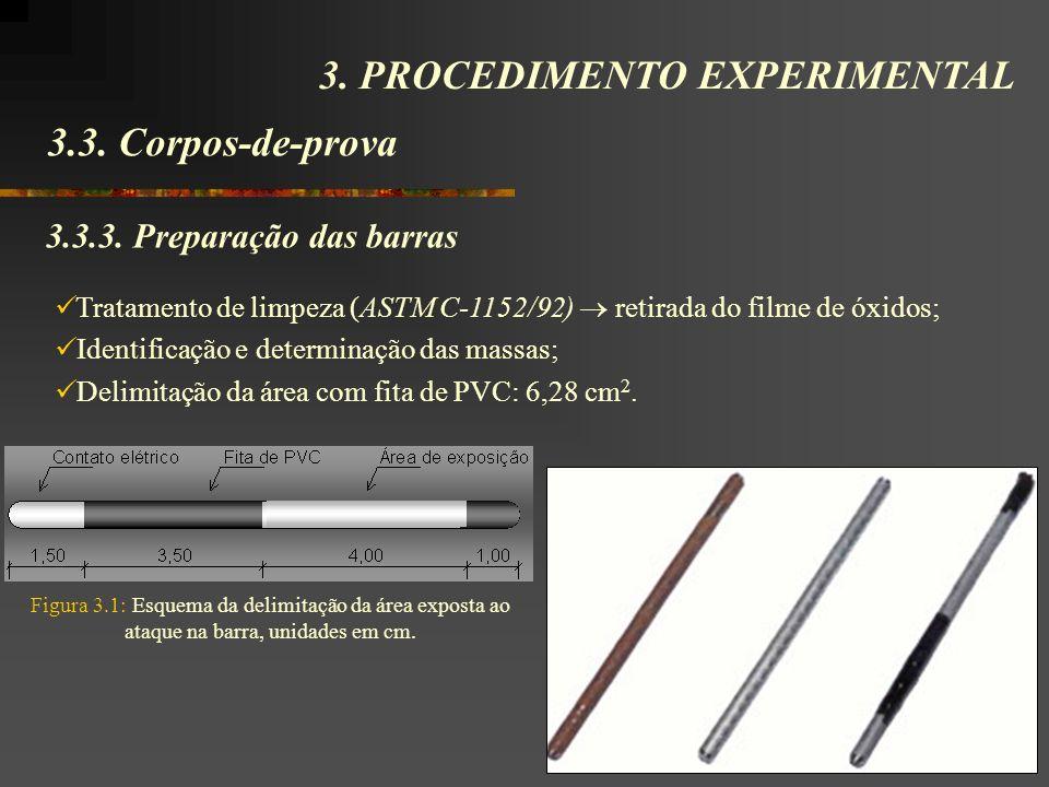 3.3. Corpos-de-prova 3. PROCEDIMENTO EXPERIMENTAL 3.3.3. Preparação das barras Tratamento de limpeza (ASTM C-1152/92) retirada do filme de óxidos; Ide