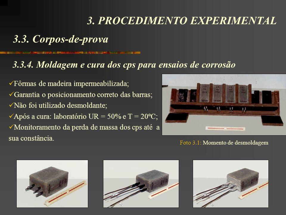 3.3. Corpos-de-prova 3. PROCEDIMENTO EXPERIMENTAL 3.3.4. Moldagem e cura dos cps para ensaios de corrosão Fôrmas de madeira impermeabilizada; Garantia