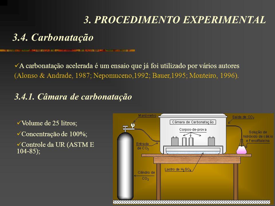 3.4. Carbonatação 3. PROCEDIMENTO EXPERIMENTAL A carbonatação acelerada é um ensaio que já foi utilizado por vários autores (Alonso & Andrade, 1987; N