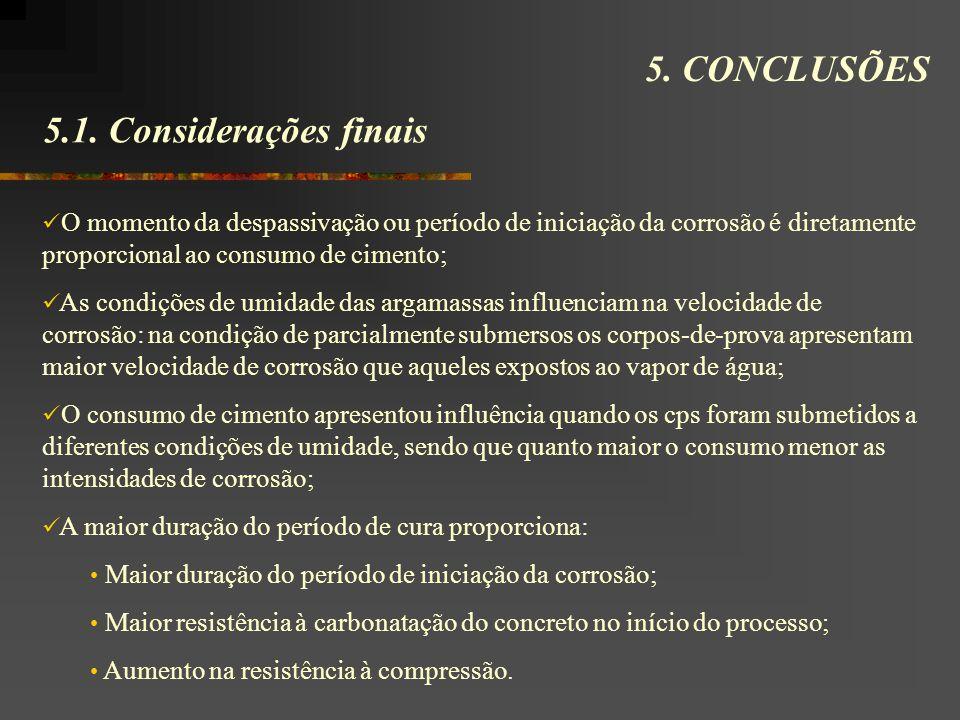 5.1. Considerações finais 5. CONCLUSÕES O momento da despassivação ou período de iniciação da corrosão é diretamente proporcional ao consumo de ciment