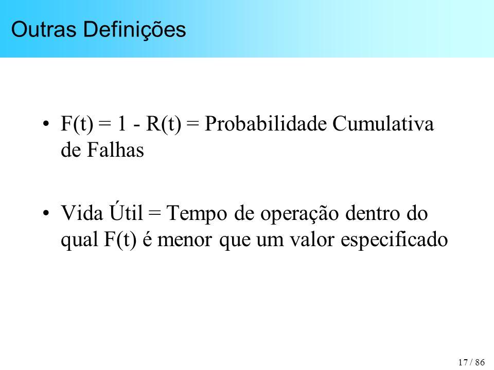 17 / 86 Outras Definições F(t) = 1 - R(t) = Probabilidade Cumulativa de Falhas Vida Útil = Tempo de operação dentro do qual F(t) é menor que um valor
