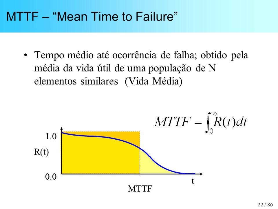 22 / 86 MTTF – Mean Time to Failure Tempo médio até ocorrência de falha; obtido pela média da vida útil de uma população de N elementos similares (Vida Média) t R(t) 1.0 0.0 MTTF