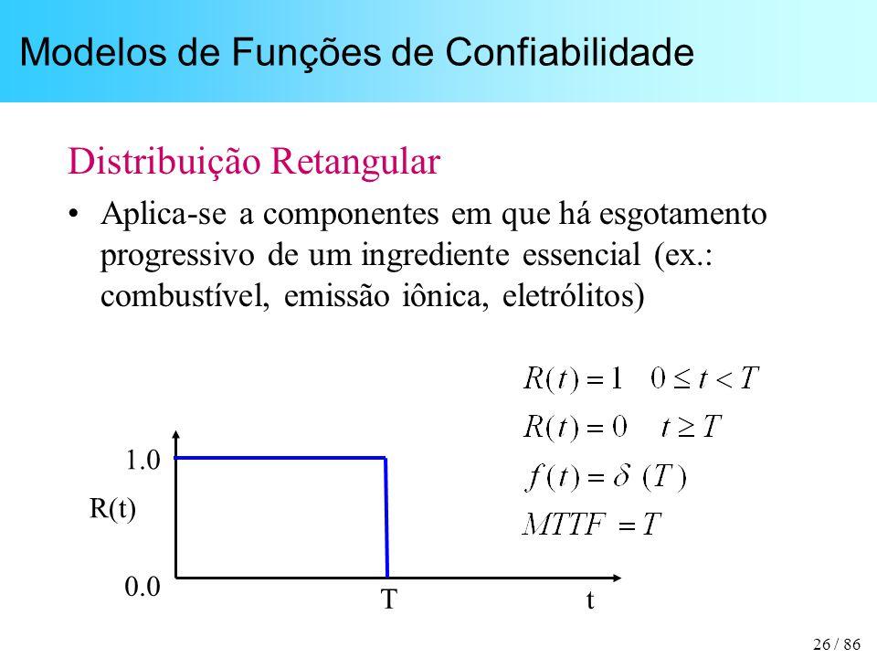 26 / 86 Modelos de Funções de Confiabilidade Distribuição Retangular Aplica-se a componentes em que há esgotamento progressivo de um ingrediente essencial (ex.: combustível, emissão iônica, eletrólitos) t R(t) 1.0 0.0 T