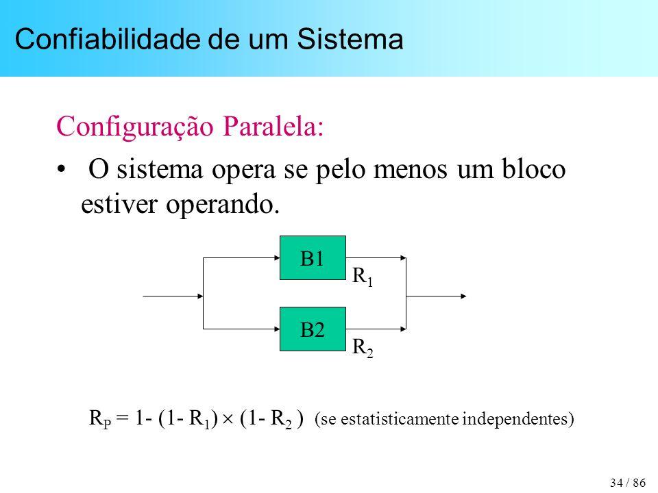 34 / 86 Confiabilidade de um Sistema Configuração Paralela: O sistema opera se pelo menos um bloco estiver operando. B1 B2 R1R1 R2R2 R P = 1- (1- R 1