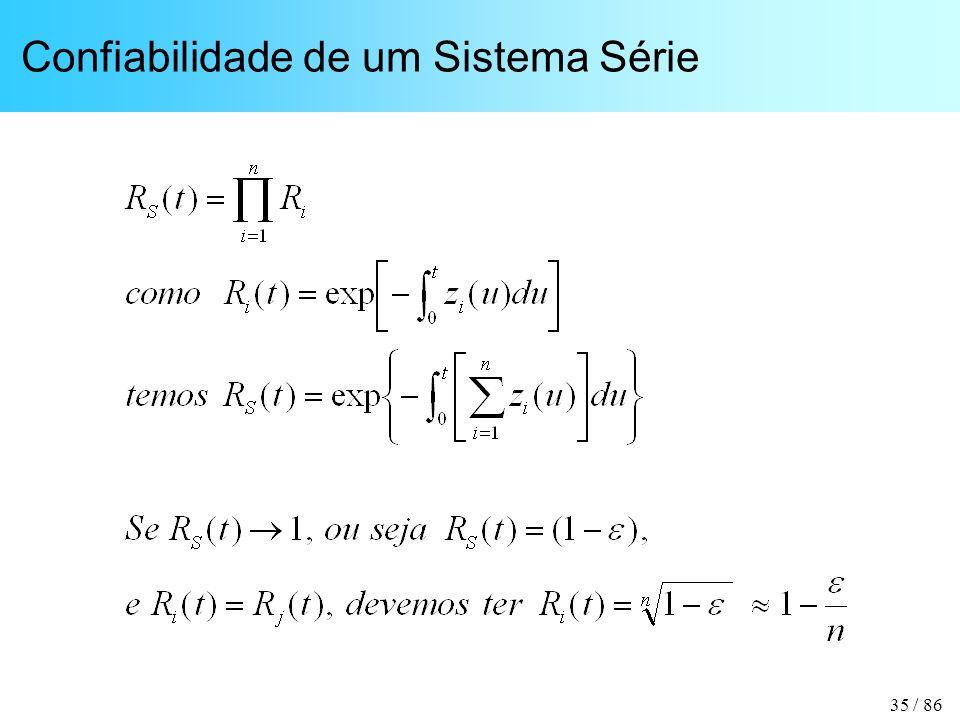 35 / 86 Confiabilidade de um Sistema Série