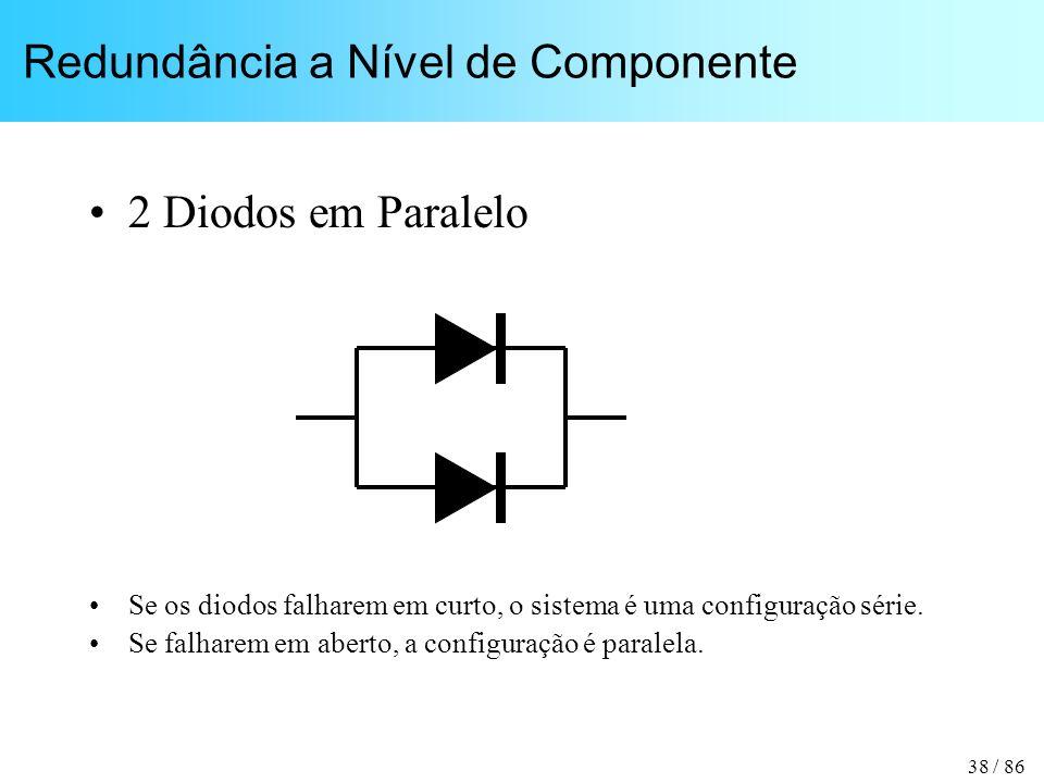38 / 86 Redundância a Nível de Componente 2 Diodos em Paralelo Se os diodos falharem em curto, o sistema é uma configuração série. Se falharem em aber