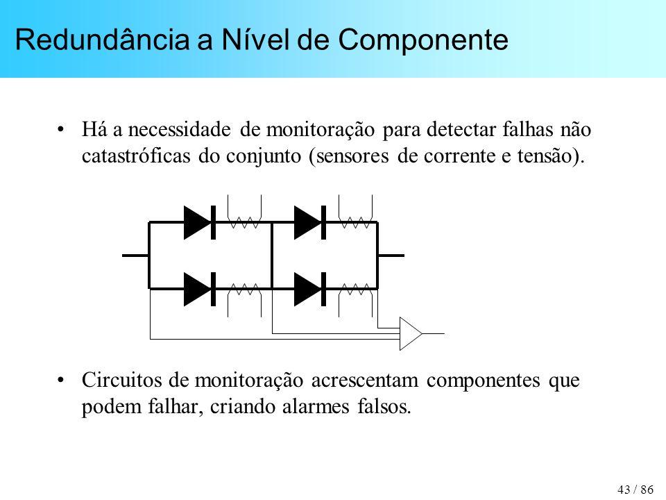 43 / 86 Redundância a Nível de Componente Há a necessidade de monitoração para detectar falhas não catastróficas do conjunto (sensores de corrente e tensão).