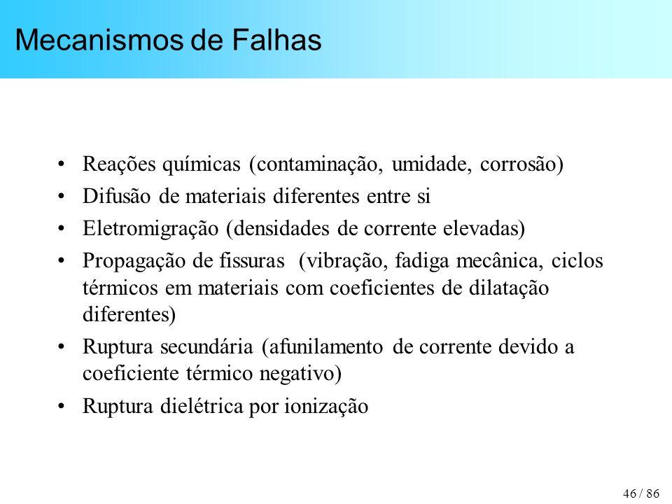 46 / 86 Mecanismos de Falhas Reações químicas (contaminação, umidade, corrosão) Difusão de materiais diferentes entre si Eletromigração (densidades de