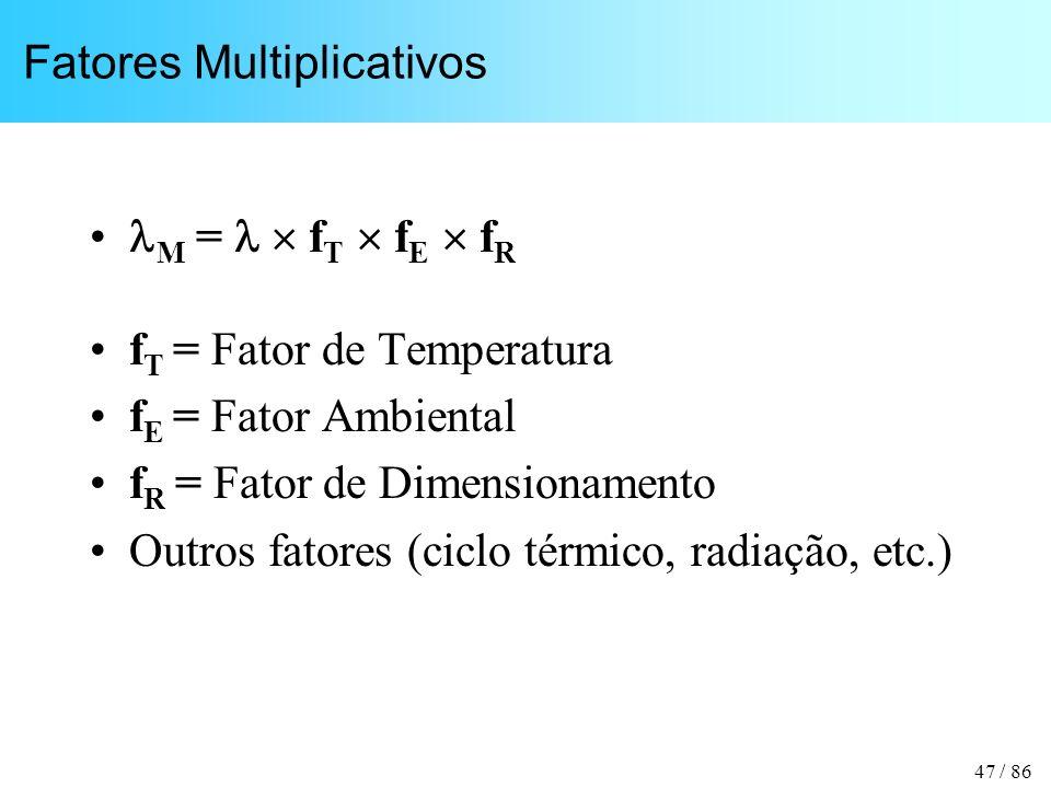 47 / 86 Fatores Multiplicativos M = f T f E f R f T = Fator de Temperatura f E = Fator Ambiental f R = Fator de Dimensionamento Outros fatores (ciclo térmico, radiação, etc.)