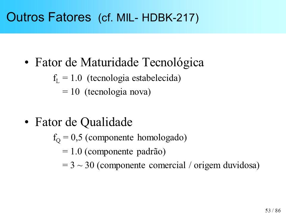 53 / 86 Outros Fatores (cf. MIL- HDBK-217) Fator de Maturidade Tecnológica f L = 1.0 (tecnologia estabelecida) = 10 (tecnologia nova) Fator de Qualida