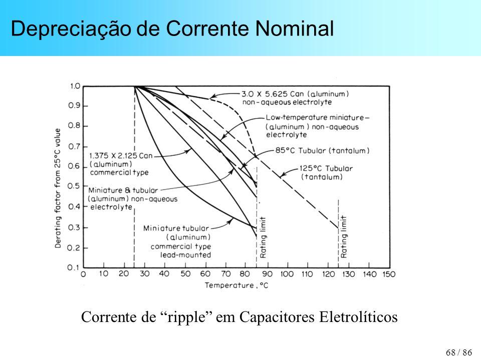 68 / 86 Depreciação de Corrente Nominal Corrente de ripple em Capacitores Eletrolíticos