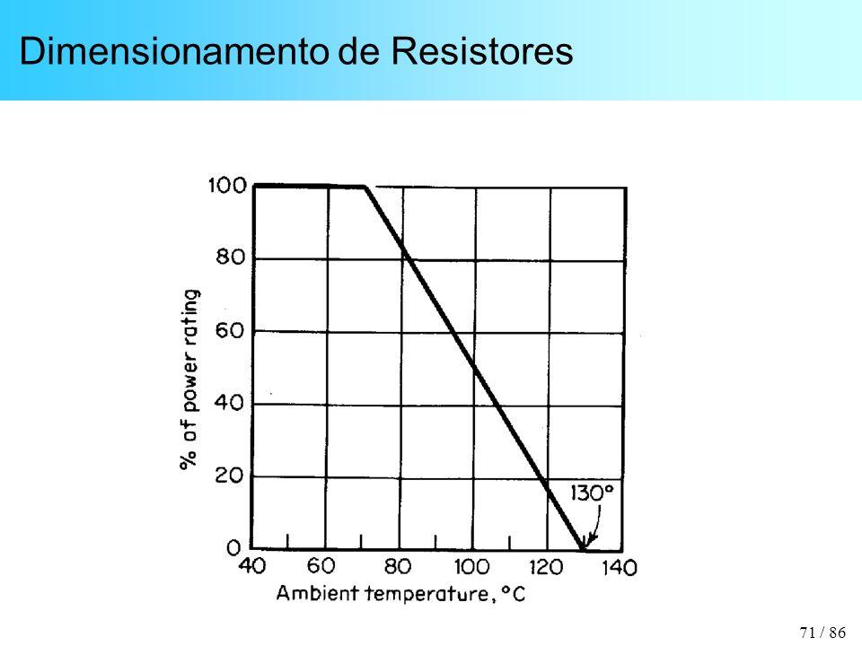 71 / 86 Dimensionamento de Resistores