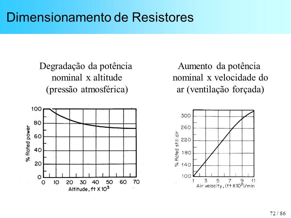 72 / 86 Dimensionamento de Resistores Degradação da potência nominal x altitude (pressão atmosférica) Aumento da potência nominal x velocidade do ar (