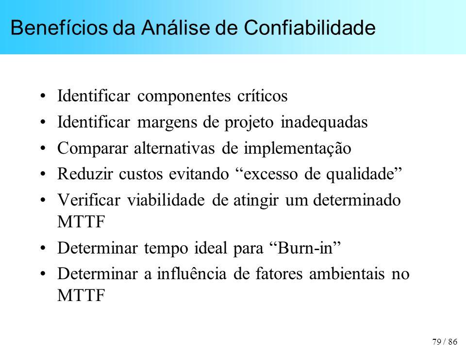 79 / 86 Benefícios da Análise de Confiabilidade Identificar componentes críticos Identificar margens de projeto inadequadas Comparar alternativas de i