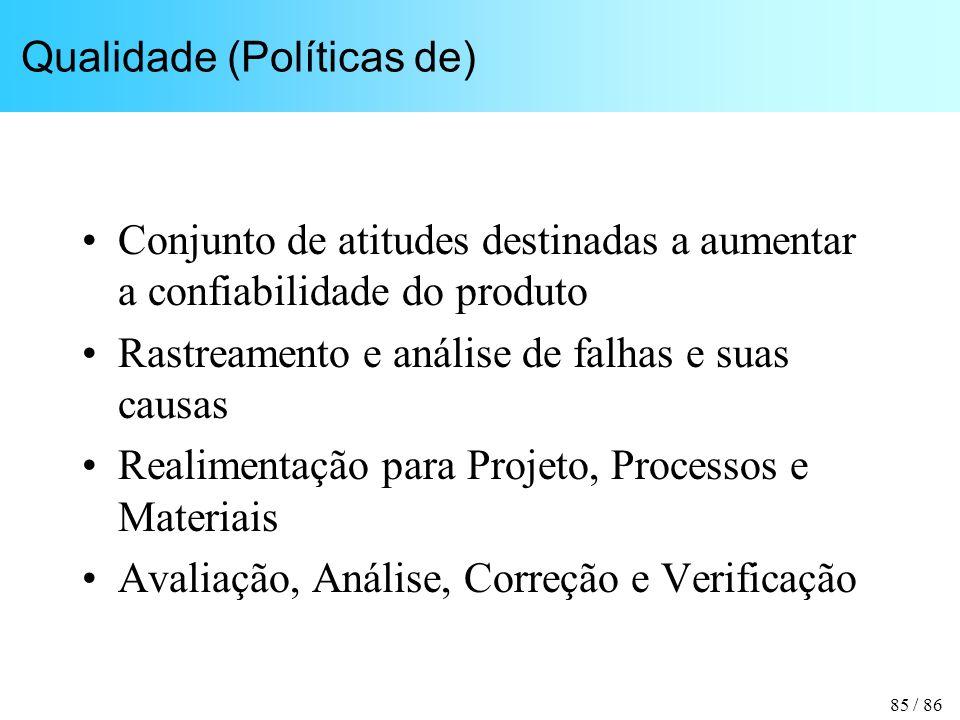 85 / 86 Qualidade (Políticas de) Conjunto de atitudes destinadas a aumentar a confiabilidade do produto Rastreamento e análise de falhas e suas causas