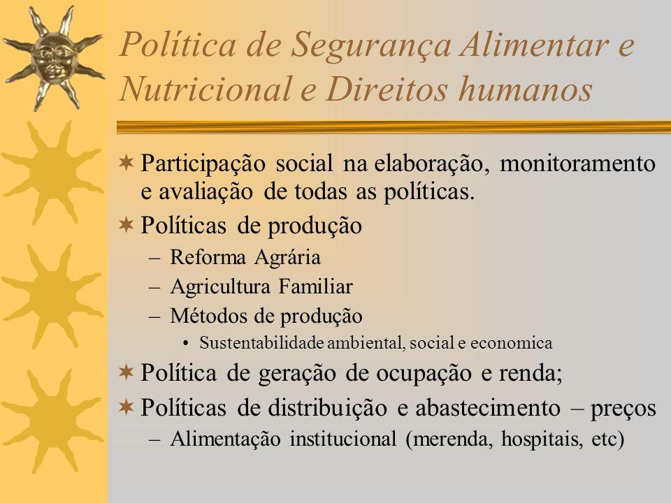 Política de Segurança Alimentar e Nutricional e Direitos humanos Participação social na elaboração, monitoramento e avaliação de todas as políticas.