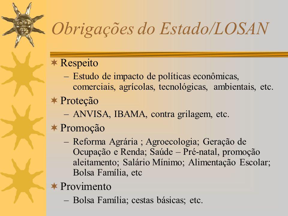 Obrigações do Estado/LOSAN Respeito –Estudo de impacto de políticas econômicas, comerciais, agrícolas, tecnológicas, ambientais, etc.