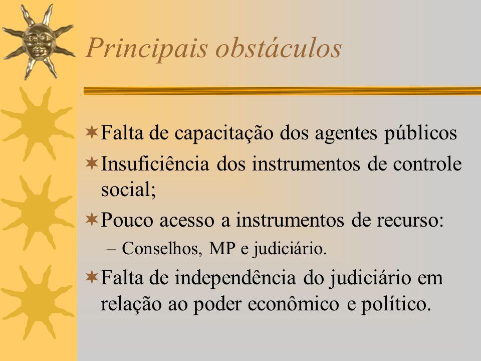 Principais obstáculos Falta de capacitação dos agentes públicos Insuficiência dos instrumentos de controle social; Pouco acesso a instrumentos de recurso: –Conselhos, MP e judiciário.