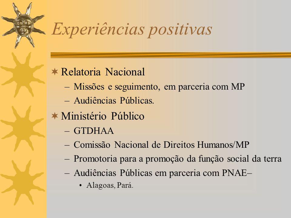 Experiências positivas Relatoria Nacional –Missões e seguimento, em parceria com MP –Audiências Públicas.